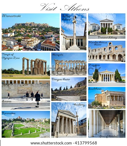 visit Athens Greece collage - ancient landmarks - stock photo