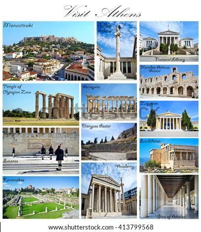 visit Athens Greece collage - greek ancient landmarks - stock photo