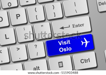 Visit Oslo blue keyboard button. Buy online tickets concept to visit Oslo