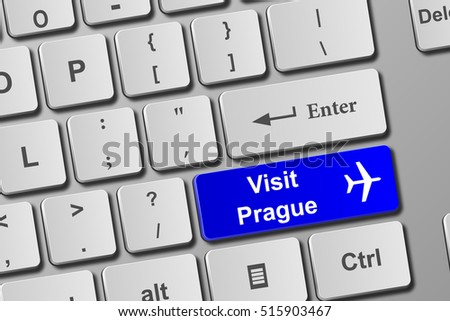 Visit Prague blue keyboard button. Buy online tickets concept to visit Prague