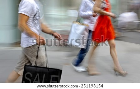 Visit the shops in city - stock photo
