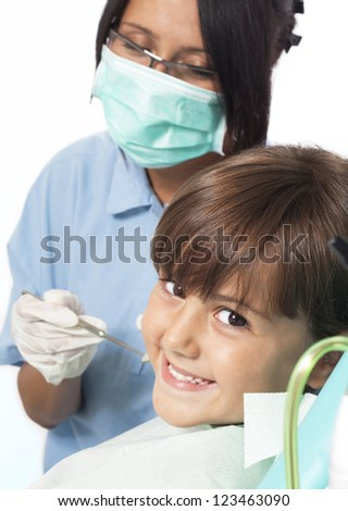 visit to the dentist - stock photo