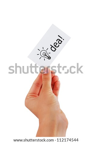 visiting card in hand a woman business idea - stock photo
