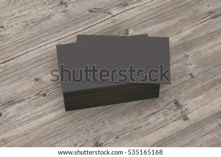 Visiting cards mock-up on wooden table. Isolated with clipping path. 3d render