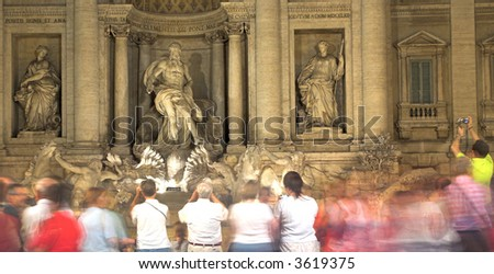Visitors At The Trevi Fountain, Rome, Italy - stock photo