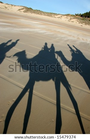 Visitors riding camels on Cable Beach, Australia