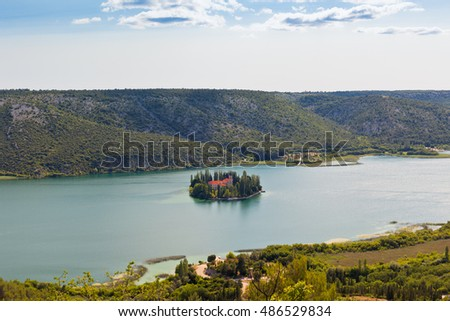 Visovac christian monastery on the island in The Krka National park, Croatia. Aerial view