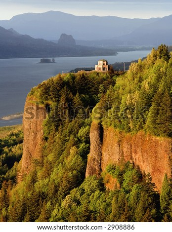 Vista House at the Gorge - stock photo