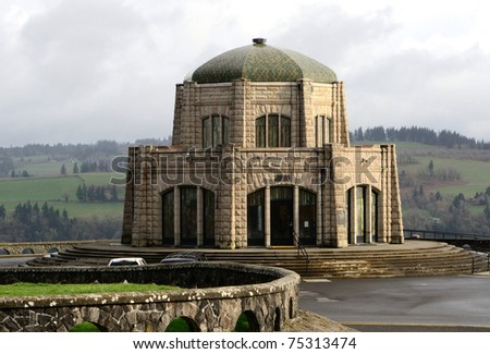 Vista House on the Columbia River Hwy on Crown Point in the gorge area. - stock photo