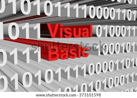 visual basic is presented in the form of binary code 3d illustration