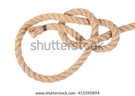 "Visual material or guide on execution of ""Bowline Knot"". Isolated on white background. Illustration for a survival guide."