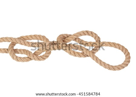 "Visual material or guide on execution of ""Fisherman's Eye Knot"". Isolated on white background. Illustration for a survival guide."