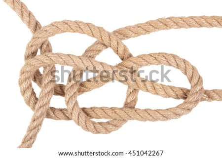 "Visual material or guide on execution of ""Hitching Tie Knot"". Isolated on white background. Illustration for a survival guide."