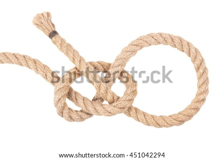 "Visual material or guide on execution of ""Lariat Loop Knot"". Isolated on white background. Illustration for a survival guide."