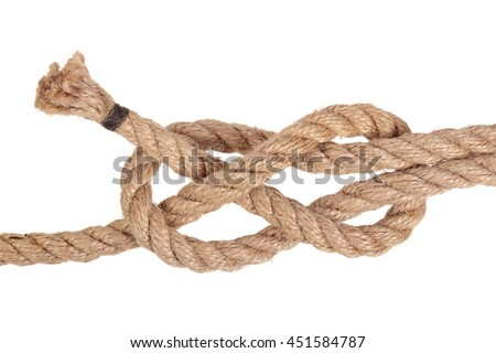 "Visual material or guide on execution of ""Sheet Band Knot"". Isolated on white background. Illustration for a survival guide."