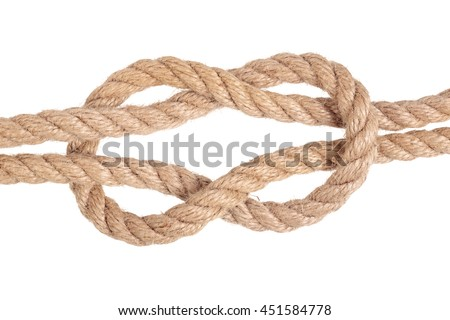 "Visual material or guide on execution of ""Square Knot"". Isolated on white background. Illustration for a survival guide."