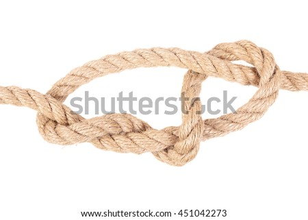 "Visual material or guide on execution of ""Stevedore's knot"". Isolated on white background. Illustration for a survival guide."