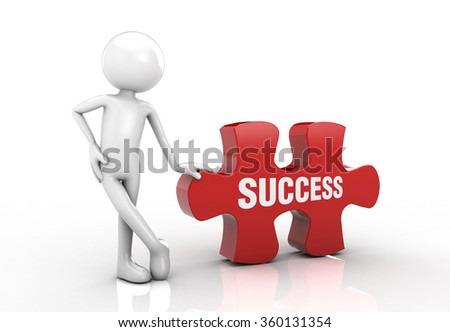 visual puzzle and he emphasized the success post. - stock photo
