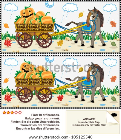 Visual puzzle or picture riddle: Find the ten differences between the two pictures - donkey pulling a cart with pumpkins in the rainy autumn day ( for vector EPS see image 105125543 )  - stock photo