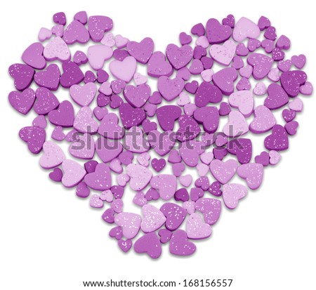 Visual studio valentine hearts as big heart isolated on white.