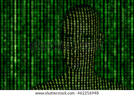 Visualization concept for artificial intelligence. Binary numbers projection on head and background.