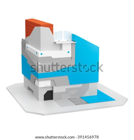 Visualization of a scheme of thermal insulation system in the plinth area of a house - stock photo