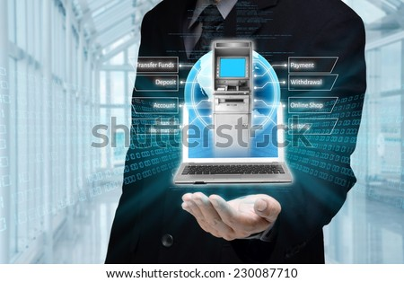 Visualization of mobile or internet based banking concept - stock photo