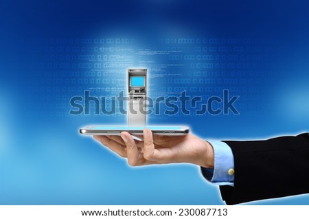 Visualization of mobile or internet based banking concept