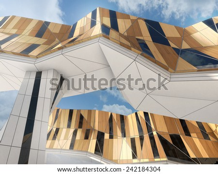 Visualization of modern hotel building with wooden cladding - stock photo