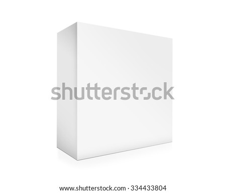 Visualization of paper box on white background. Illustration blank cardboard box - stock photo