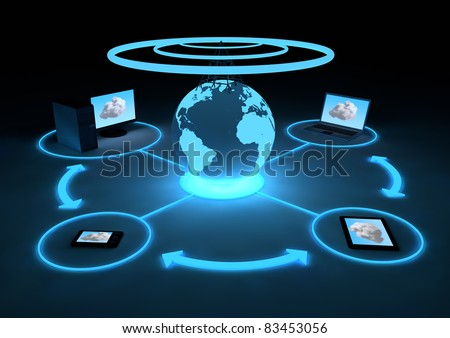 visualization of several devices connected to the cloud - stock photo