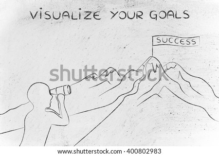 visualize your goals: person with binoculars looking at the path to reach a Success banner on top of a mountain