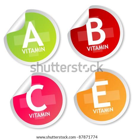 Vitamin A, B, C and E stickers - stock photo