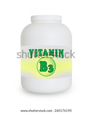 Vitamin B3 container, isolated on a white background - stock photo