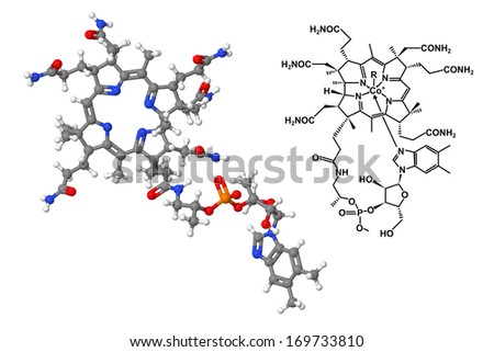 Vitamin B12 molecule with chemical formula isolated on white background - stock photo