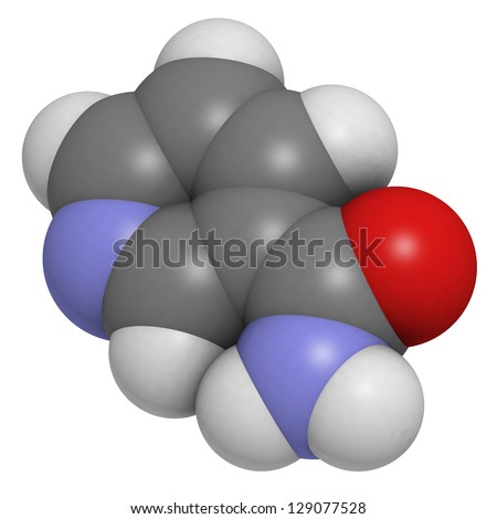 Vitamin B3 (niacinamide, nicotinic acid amide), molecular model. Atoms are represented as spheres with conventional color coding: hydrogen (white), carbon (grey), oxygen (red) - stock photo