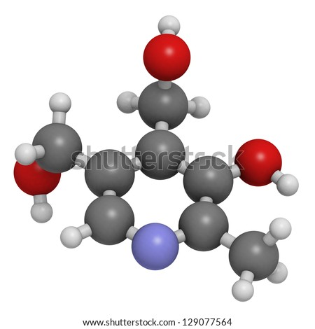Vitamin B6 (pyridoxine), molecular model. Atoms are represented as spheres with conventional color coding: hydrogen (white), carbon (grey), oxygen (red), nitrogen (blue) - stock photo