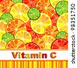 Vitamin C. Citrus fruit background  - Lemon, Lime and Orange. Citrus texture background with slices of lemon, lime and orange.  stylized background. - stock vector