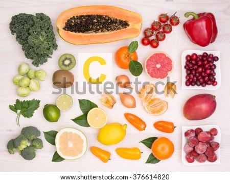 Vitamin C containing foods - stock photo