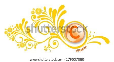 Vitamin C.  Illustration  - stock photo
