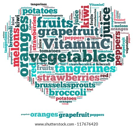 Vitamin C info-text graphics and arrangement concept on white background (word cloud) - stock photo
