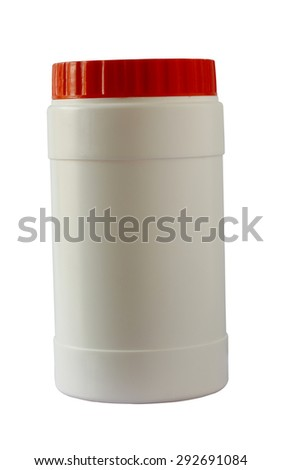 Vitamin c plastic bottle with orange cap isolated on white background