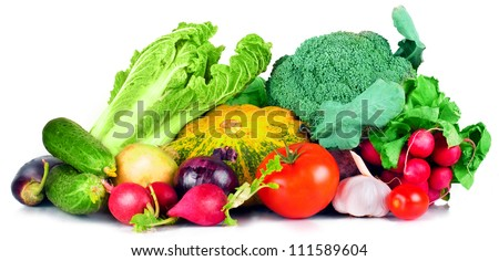 vitamin set  vegetables from large turnip beets zucchini orange  yellow green sprigs radish bright and fresh green salad leaves tomato garlic eggplant cucumber of fresh isolated on white background - stock photo