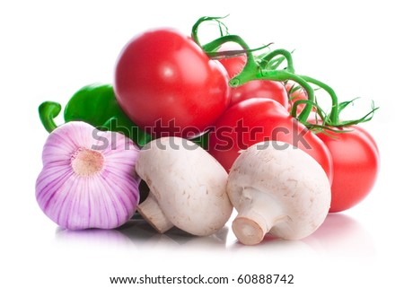 Vitamin vegetable collection tomatoes with a branch, tomatoes cherry, sweet green pepper, garlic heads, mushrooms and red onions for salad with reflection isolated on a white background - stock photo