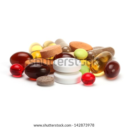 vitamins, pills and tablets - stock photo