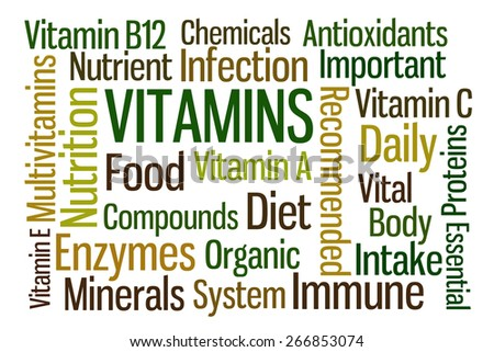 Vitamins word cloud on white background - stock photo