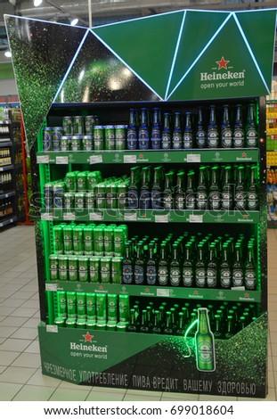 Vitebsk, Belarus-August, 19,2017: beautiful stand (showcase) with beer Heineken.Heineken -the Netherlands brewing company.Vitebsk, Belarus