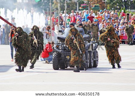 Vitebsk, Belarus - August 2, 2015: Belarus army soldiers during the celebration of the Paratroopers VDV Day on August 2, 2015 in Vitebsk - stock photo