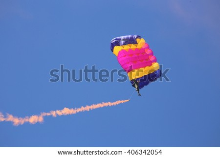 Vitebsk, Belarus - August 2, 2015: paratrooper during the celebration of the Paratroopers VDV Day on 2 August 2015 in Vitebsk - stock photo