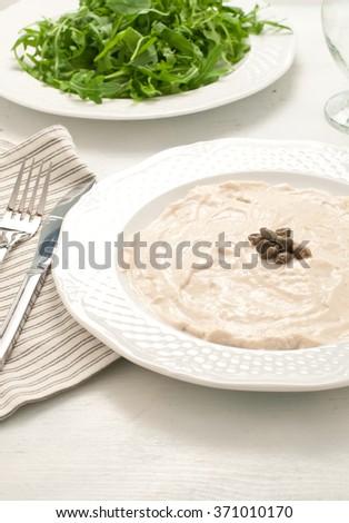 Vitello tonnato, typical Italian dish with veal and tuna,italy - stock photo
